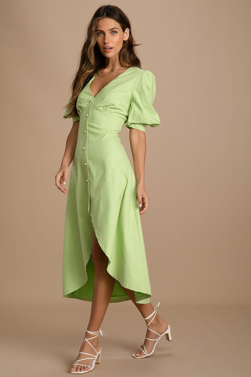 green midi puff sleeve dress
