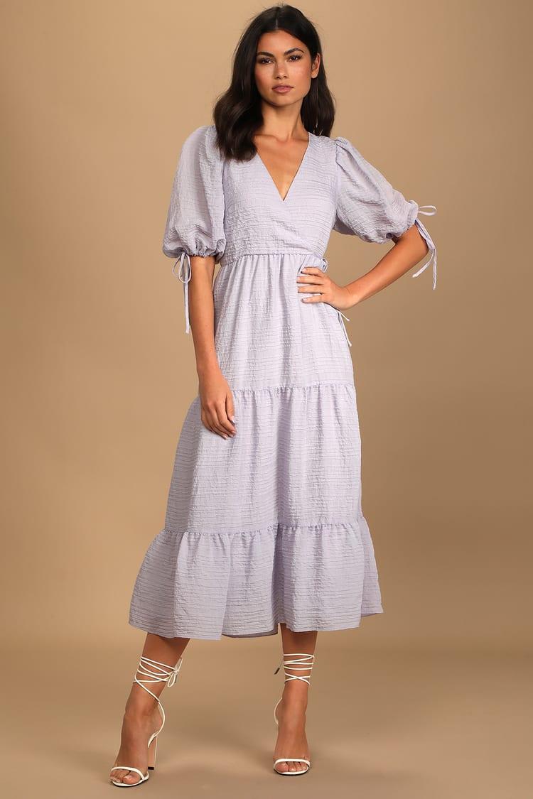lulus midi puff sleeve dress