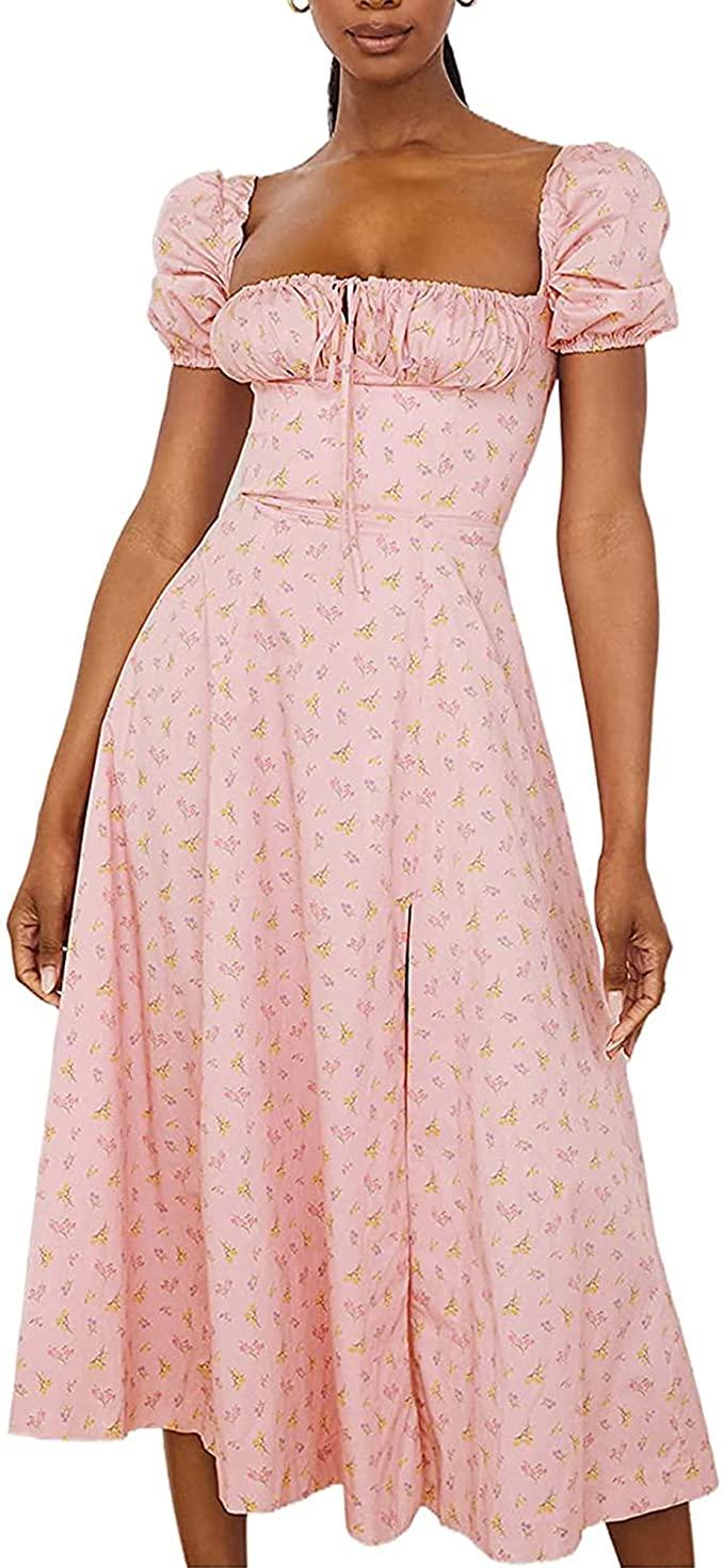 pink puff sleeve dress