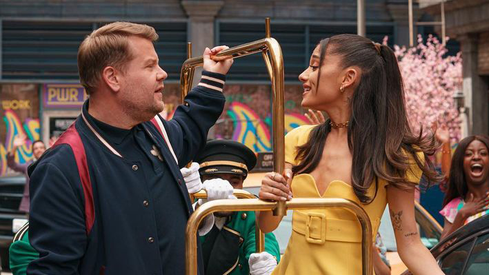 James Corden and Ariana Grande on the Late Late Show