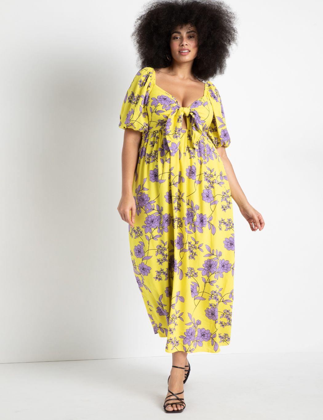 plus size puff sleeve dress
