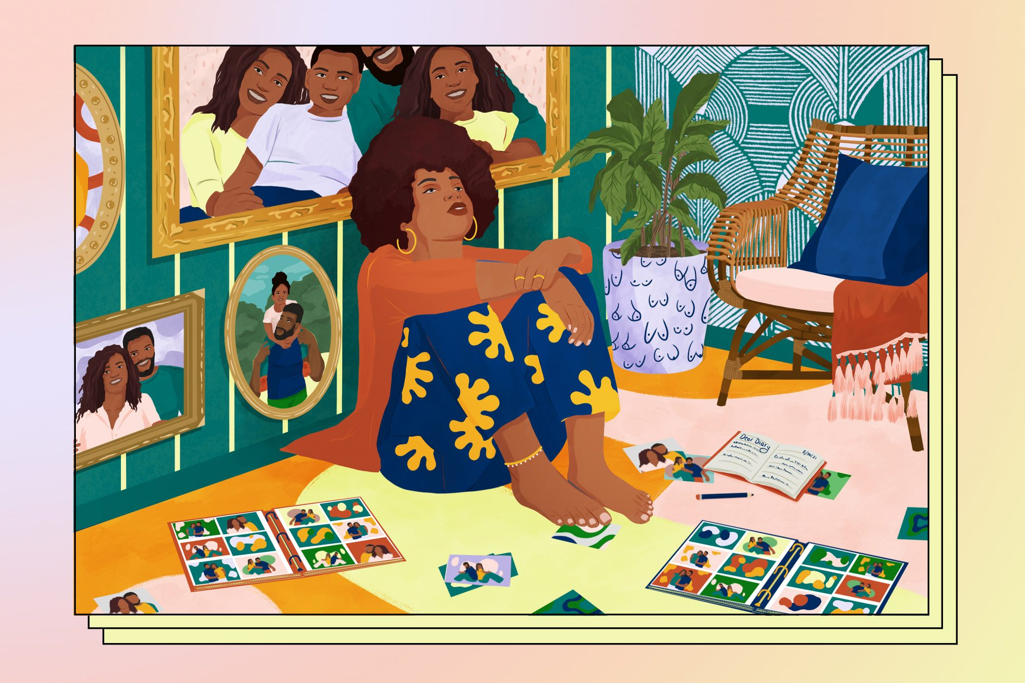 Graphic of woman sitting with family photos