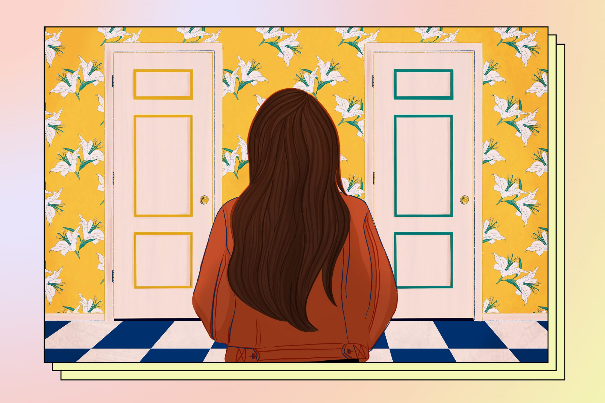 Graphic of woman looking at two doors