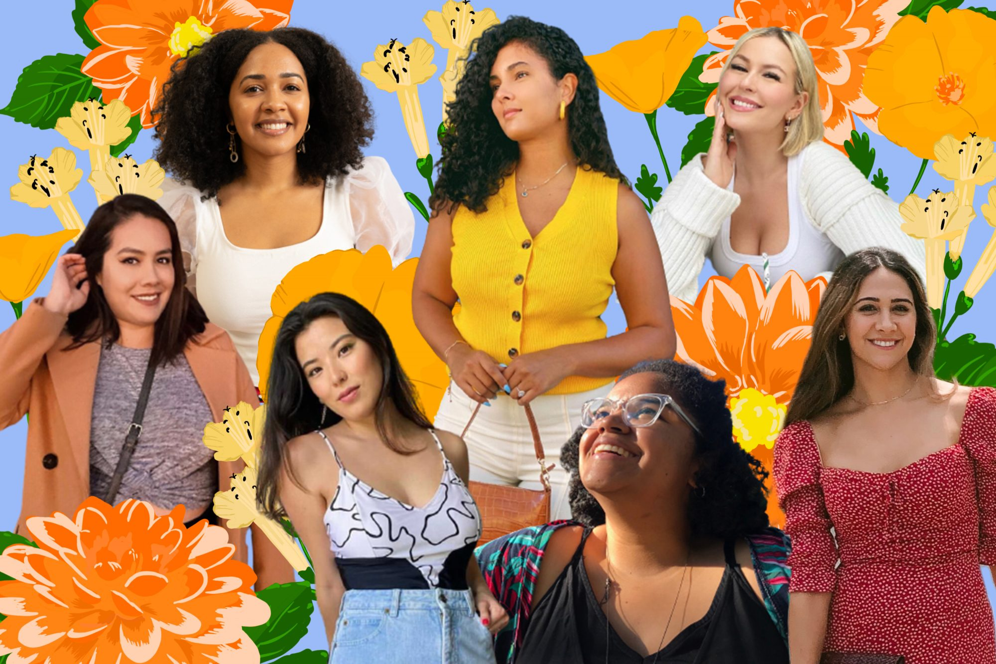 Graphic of seven women against a floral background.