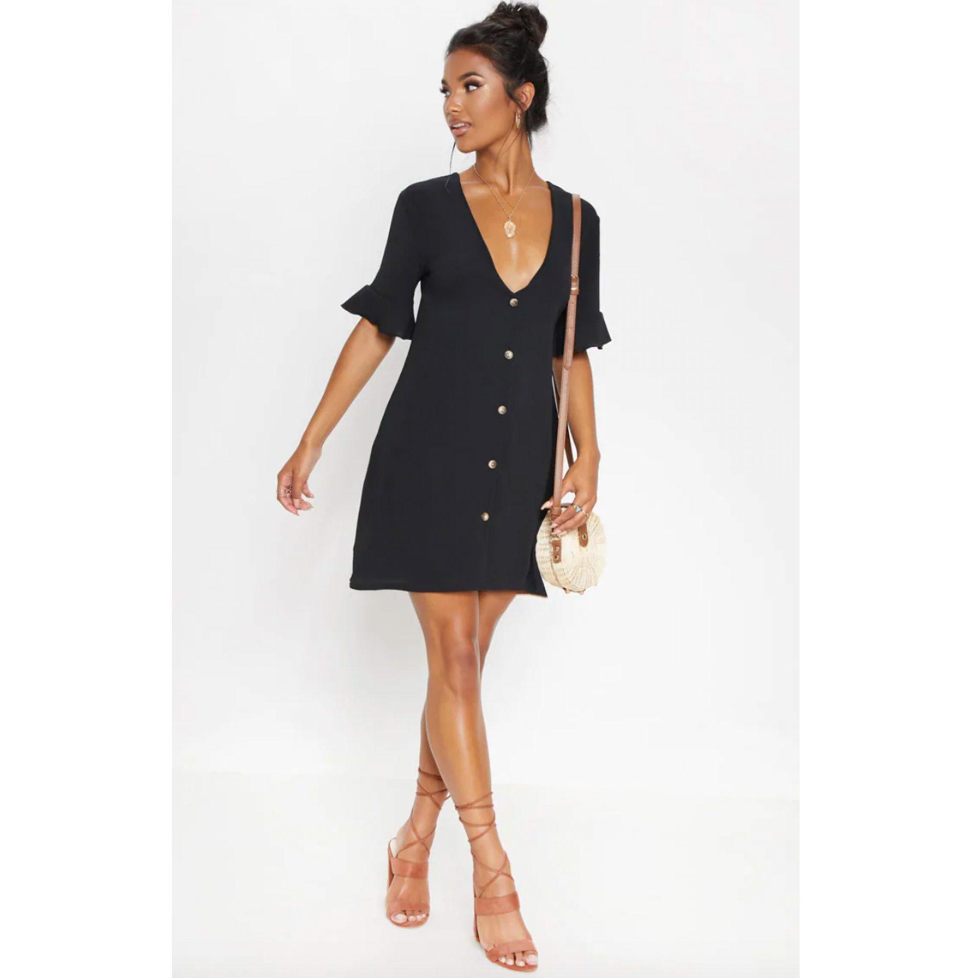 black-button-up-dress