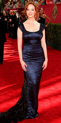 Blue Hues: Christina Hendricks - L'Wren Scott - 2009 Emmy Awards - Fashion Trends