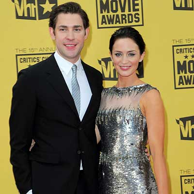 Parties - John Krasinski and Emily Blunt in Georges Chakra Couture - The 2010 Critics' Choice Awards