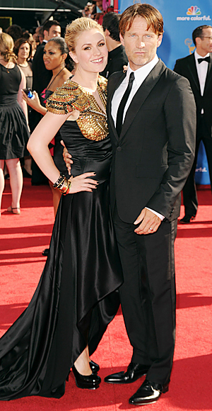 Anna Paquin and Stephen Moyer at Alexander McQueen at the 2010 Emmy Awards in Hollywood California