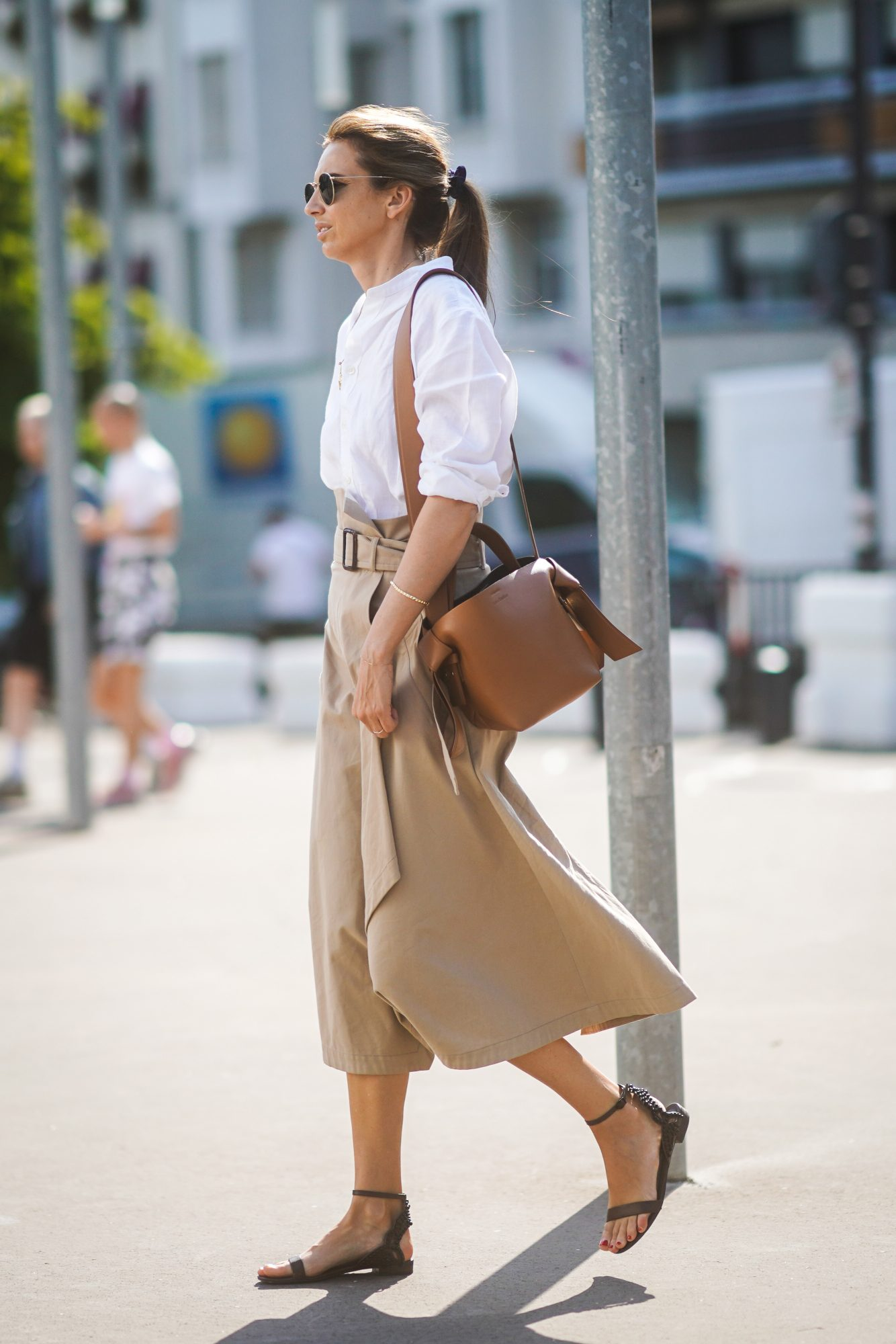 Summer Outfits, Summer Work Outfit Idea, Button-Down and Midi Skirt