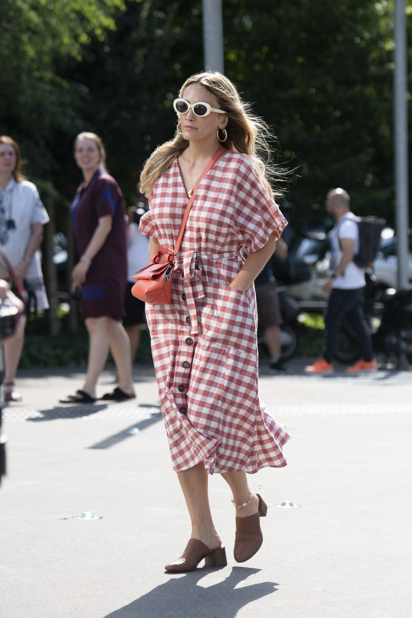 Summer Outfits, Red Gingham Dress, Slides, Backyard Barbecue Outfit Idea