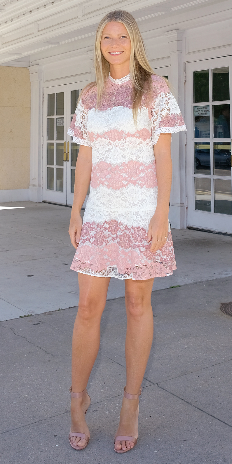 In a pink and white minidress, 2017