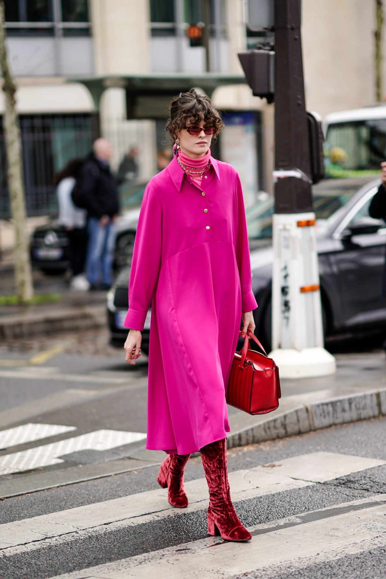 Pink dress outfit idea