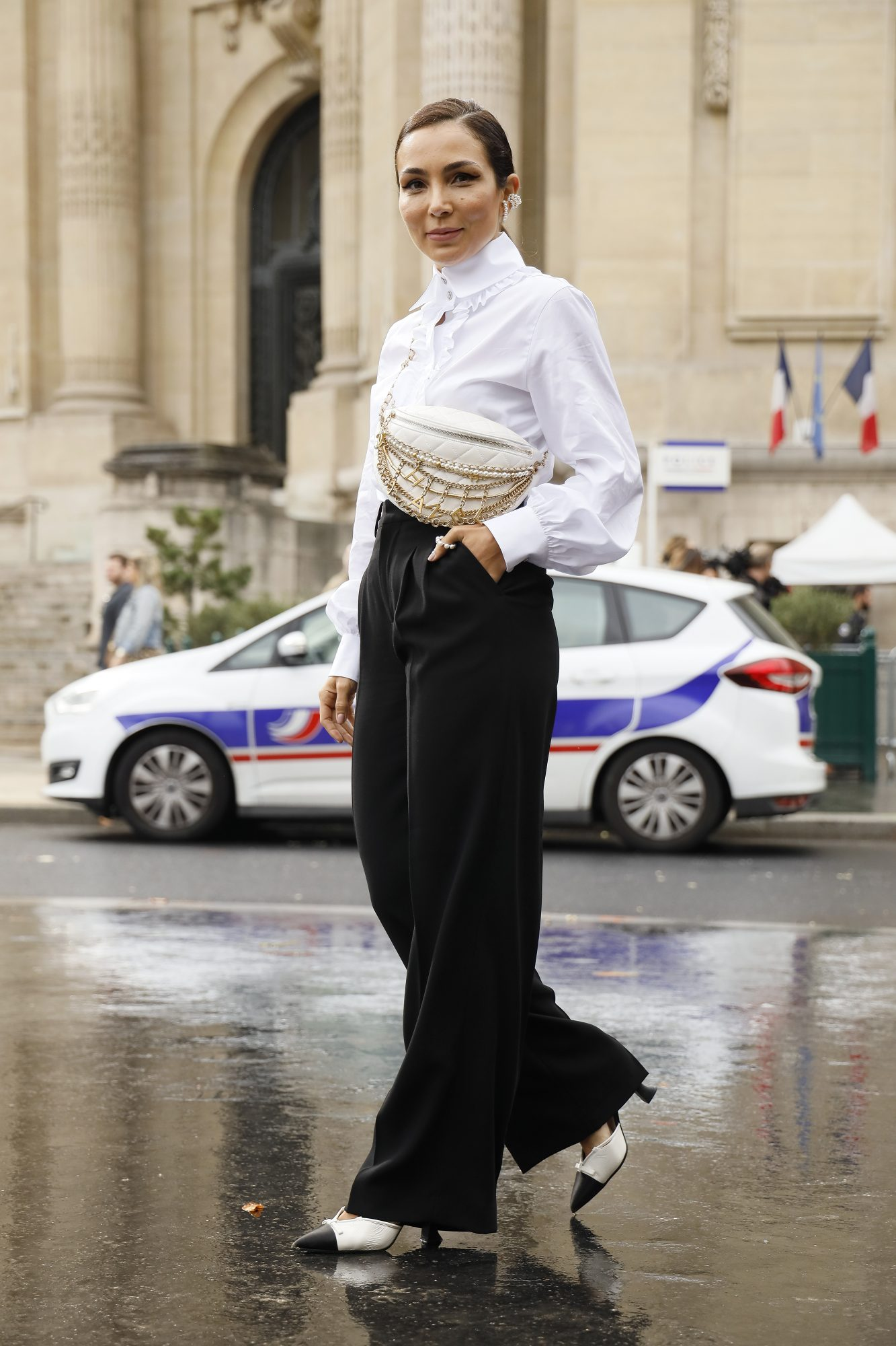 White shirt and black pants outfit idea