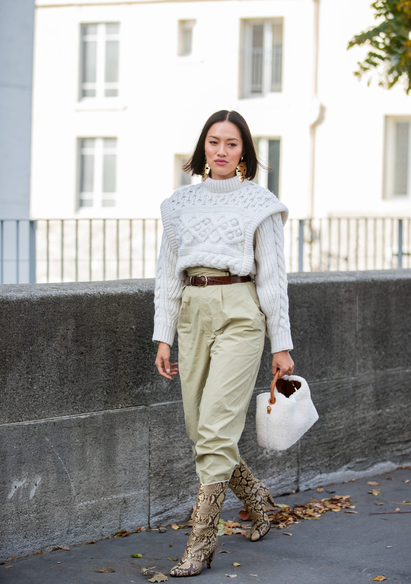 Pants tucked into boots outfit idea