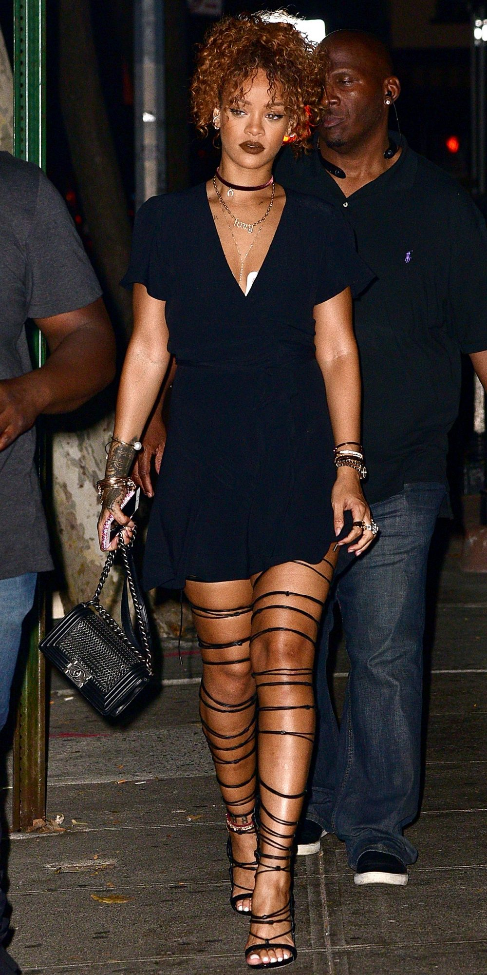 LBD + Thigh-High Lace-Up Sandals