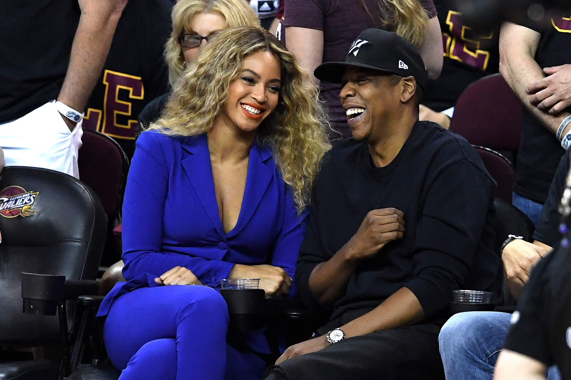 Beyonce and Jay Z attend Game 6 of the 2016 NBA Finals between the Cleveland Cavaliers and the Golden State Warriors at Quicken Loans Arena on June 16, 2016 in Cleveland, Ohio