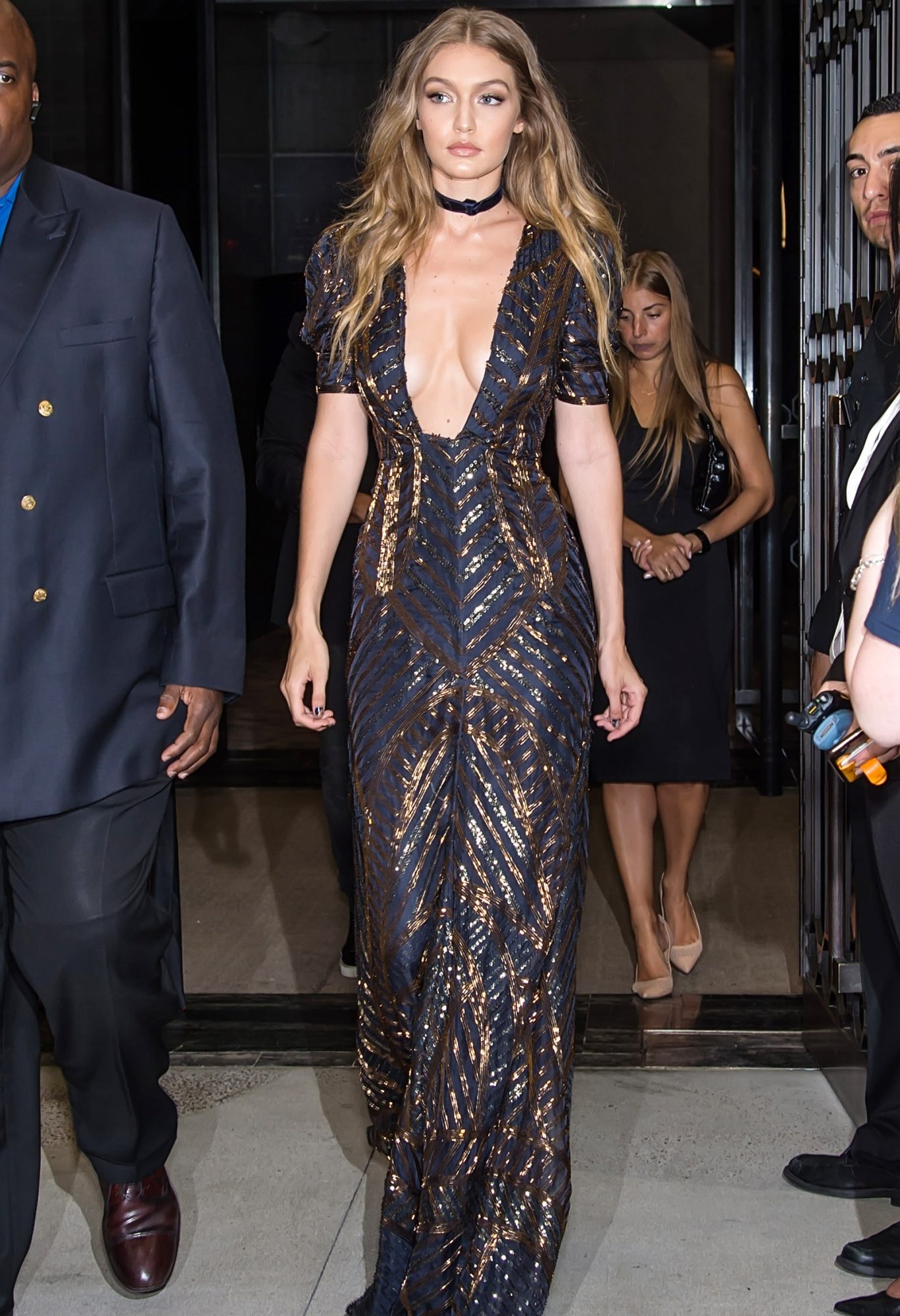 Gigi Hadid is seen leaving The Daily Front Row's 4th Annual Fashion Media Awards at Park Hyatt New York