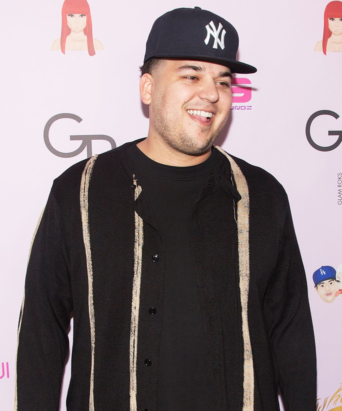 """HOLLYWOOD, CA - MAY 10:  Rob Kardashian arrives for the Blac Chyna birthday celebration and unveiling of her """"Chymoji"""" Emoji Collection at Hard Rock Cafe, Hollywood, CA on May 10, 2016 in Hollywood, California.  (Photo by Gabriel Olsen/WireImage)"""