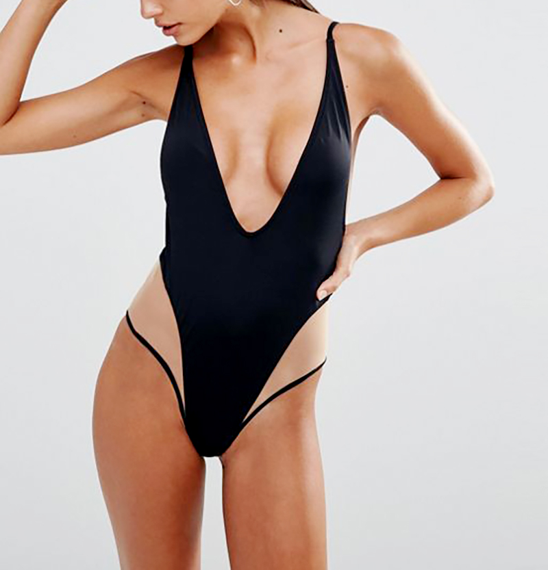 Missguided Mesh Insert Swimsuit