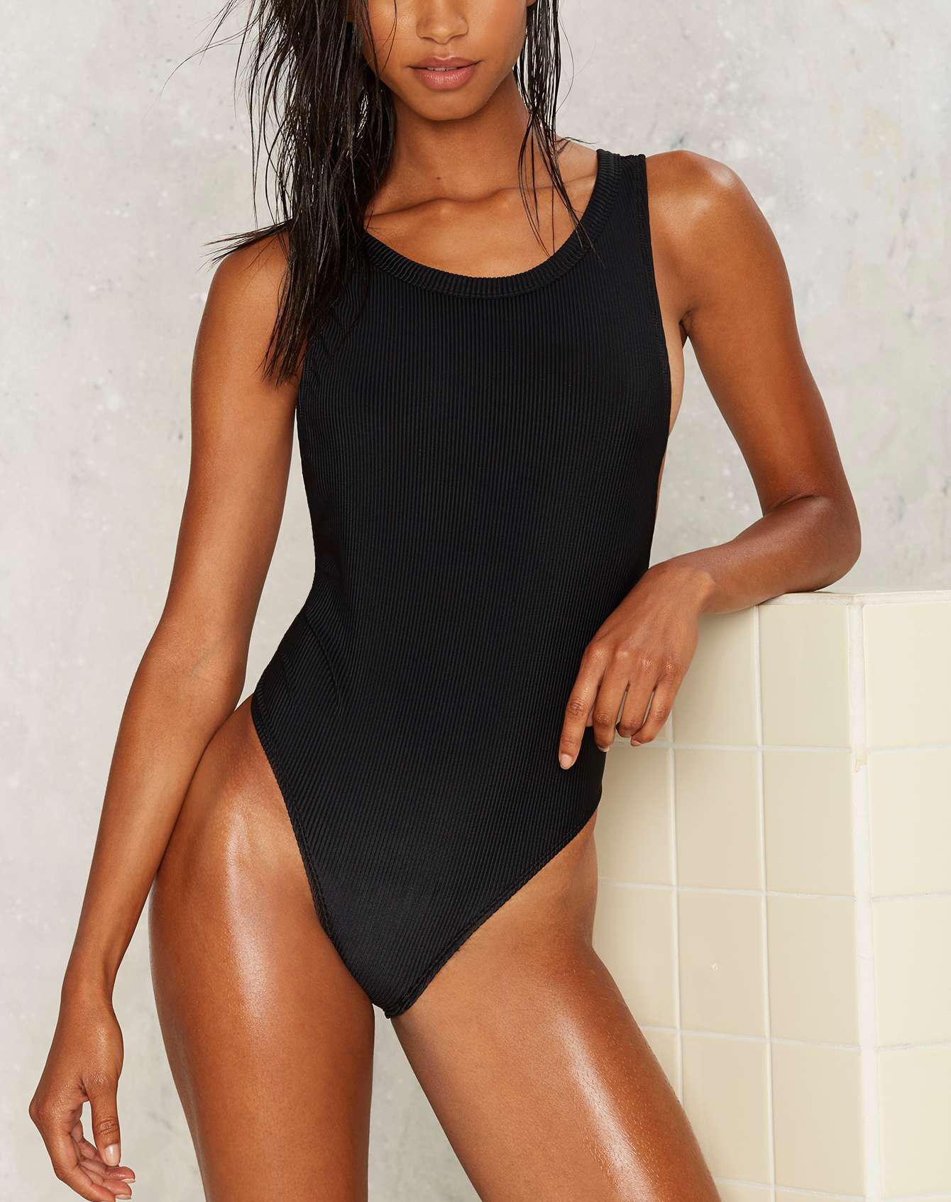 Nasty Gal Crew Intentions Ribbed Swimsuit