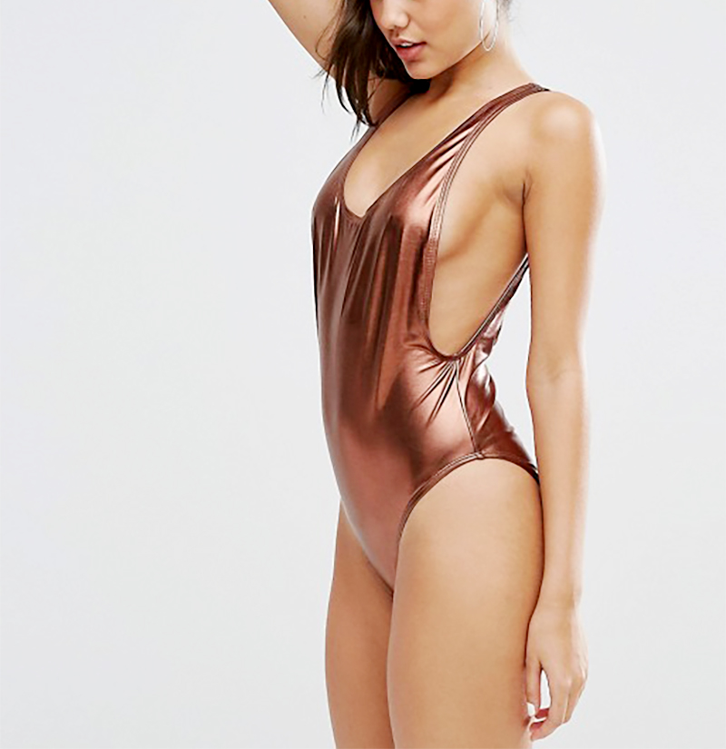 Missguided Metallic Low Side Swimsuit