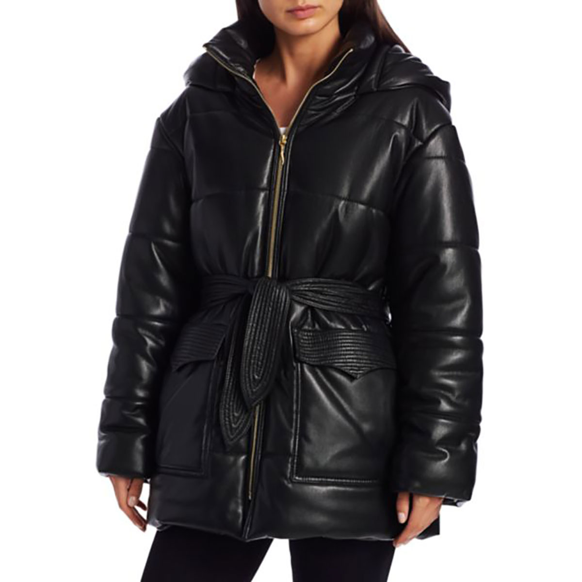 Nanushka Lenox Vegan Leather Puffer Coat