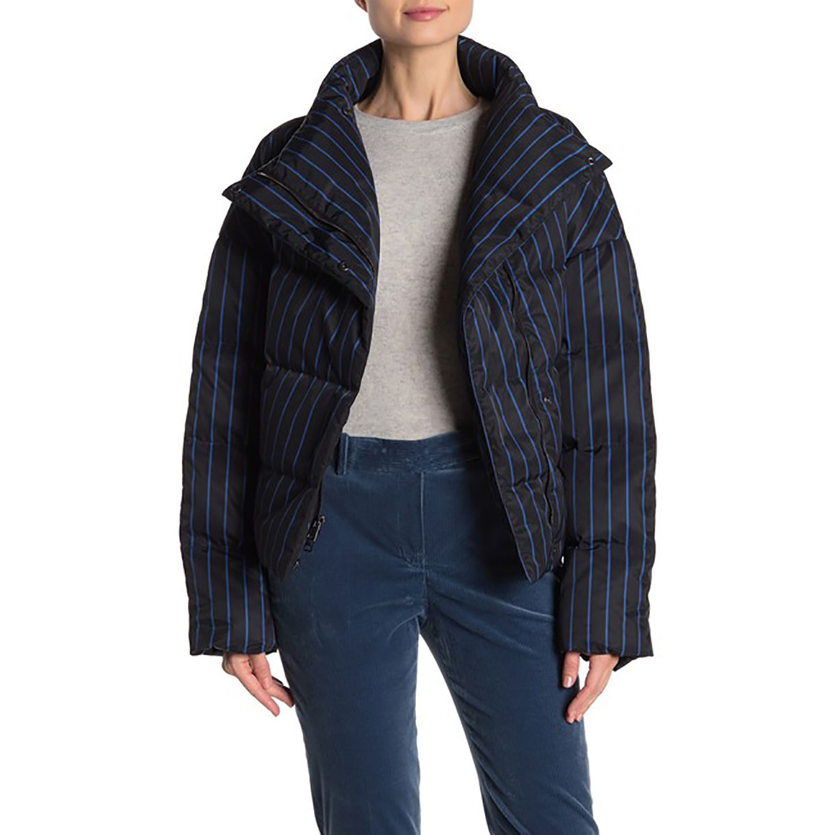 Theory Asymmetrical Stripe Puffer Jacket