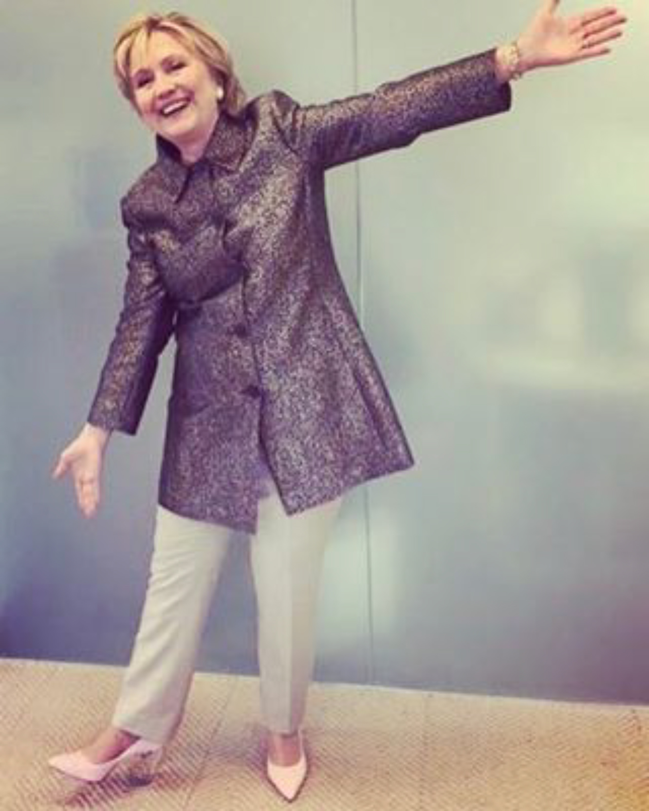Hillary Clinton in Katy Perry Shoe