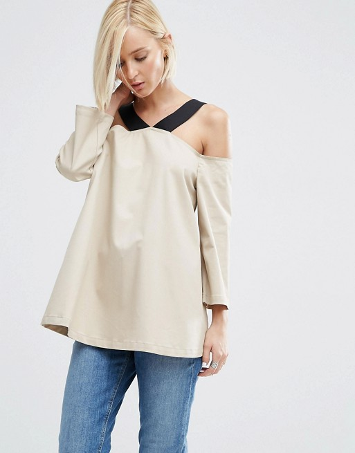ASOS WHITE Off Shoulder Top With Strap