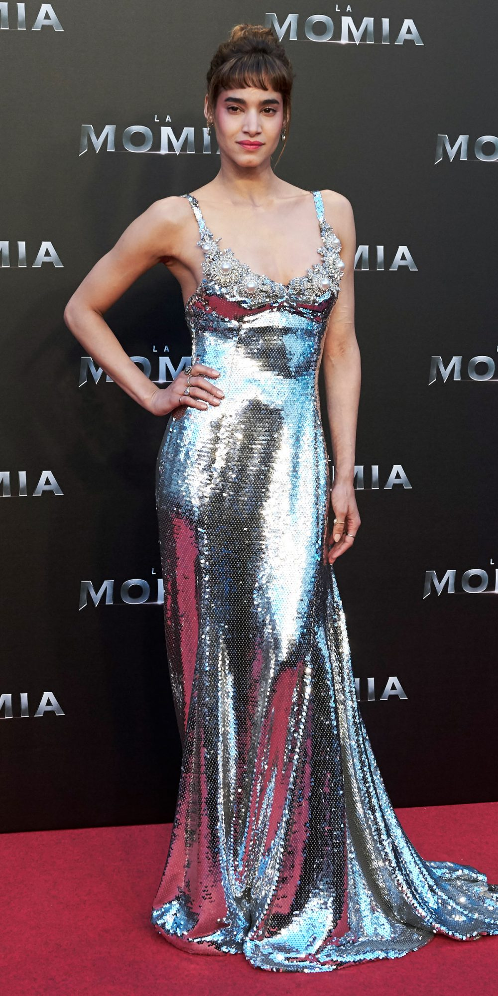 In Miu Miu at the Madrid Premiere of The Mummy