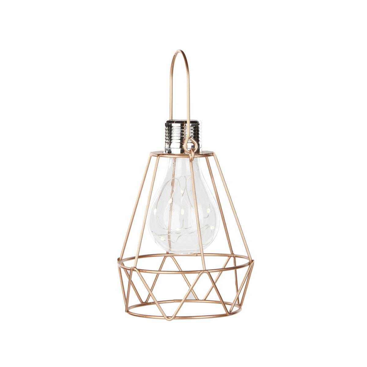 Smart Solar Geometric Lantern with Retro Glass Edison LED Bulb