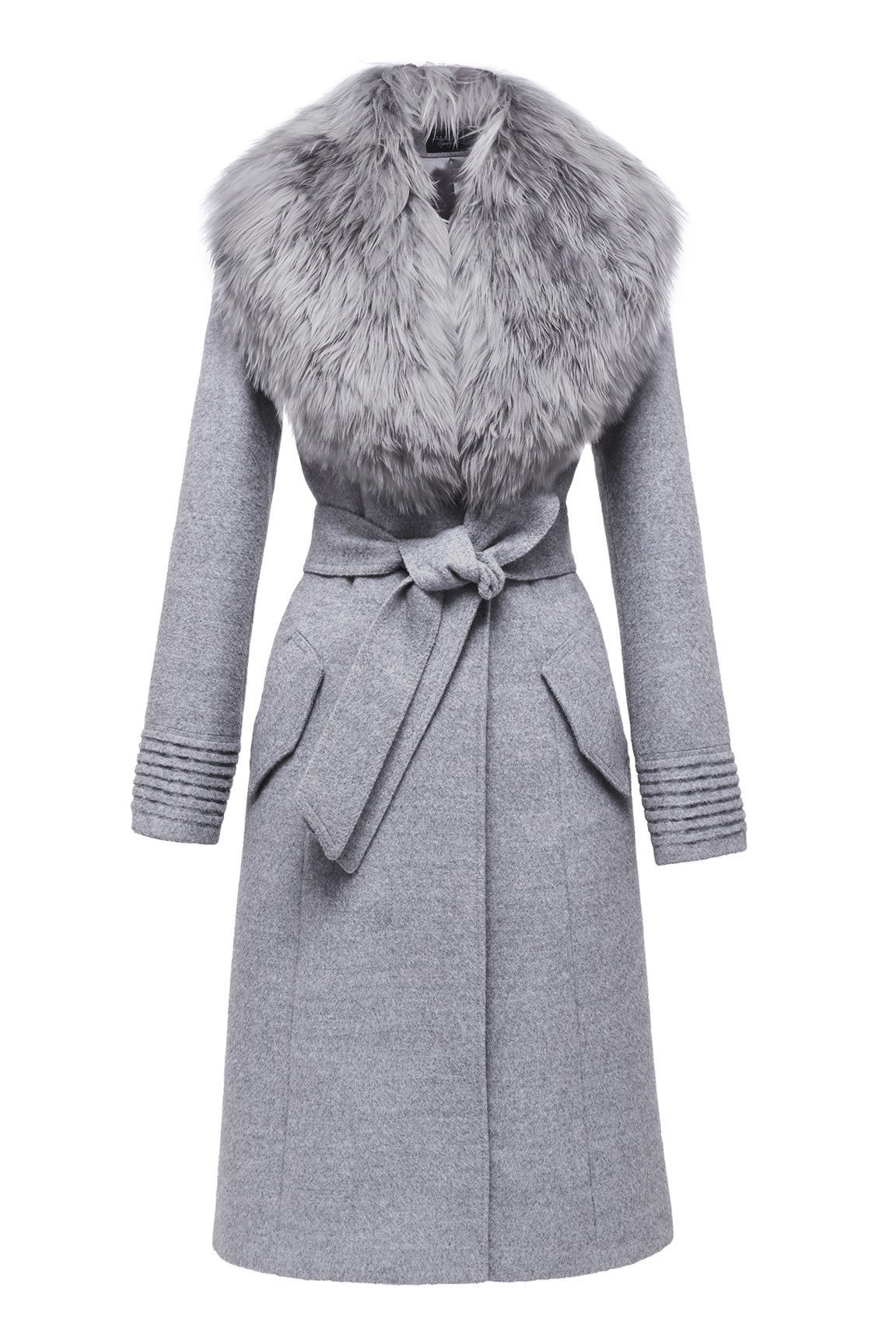 belted long coat with fur collar