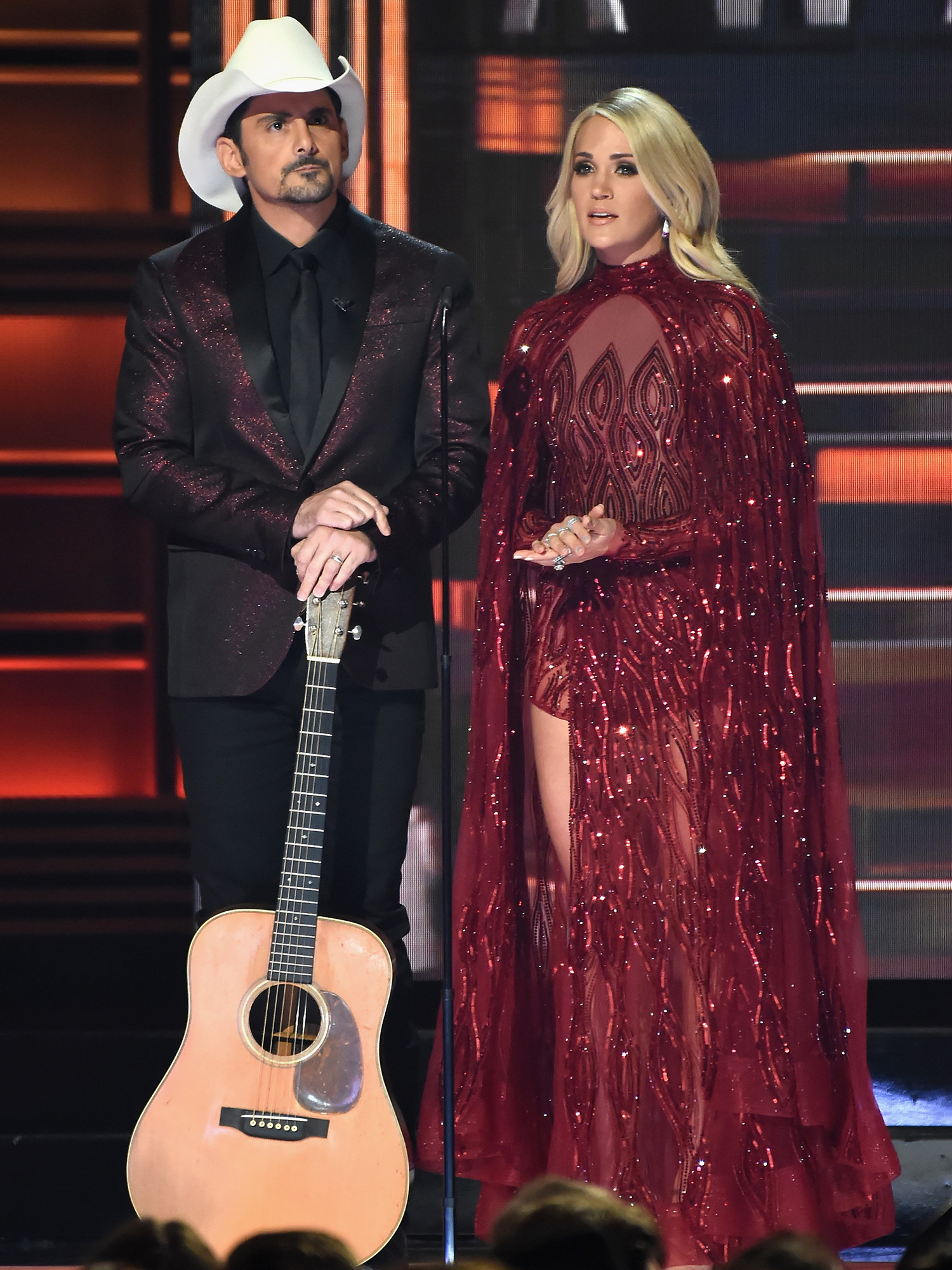 Carrie Underwood in Sparkling Red Gown
