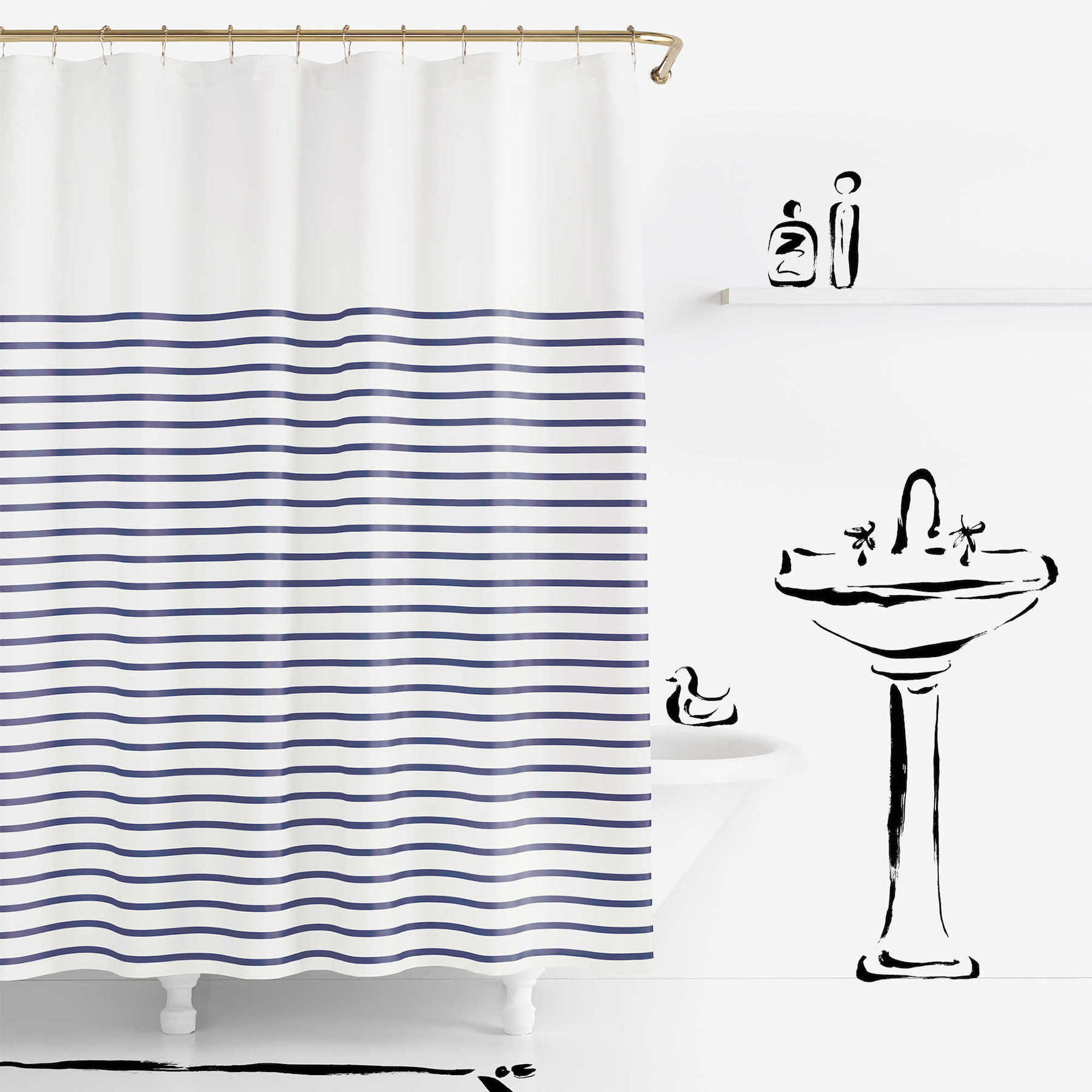 Kate Spade Blue-and-White Striped Shower Curtain