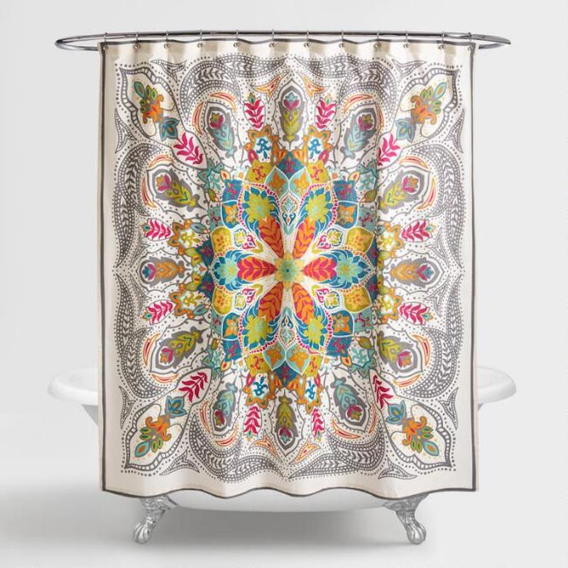 Andana Medallion-Pattern Colorful Shower Curtain