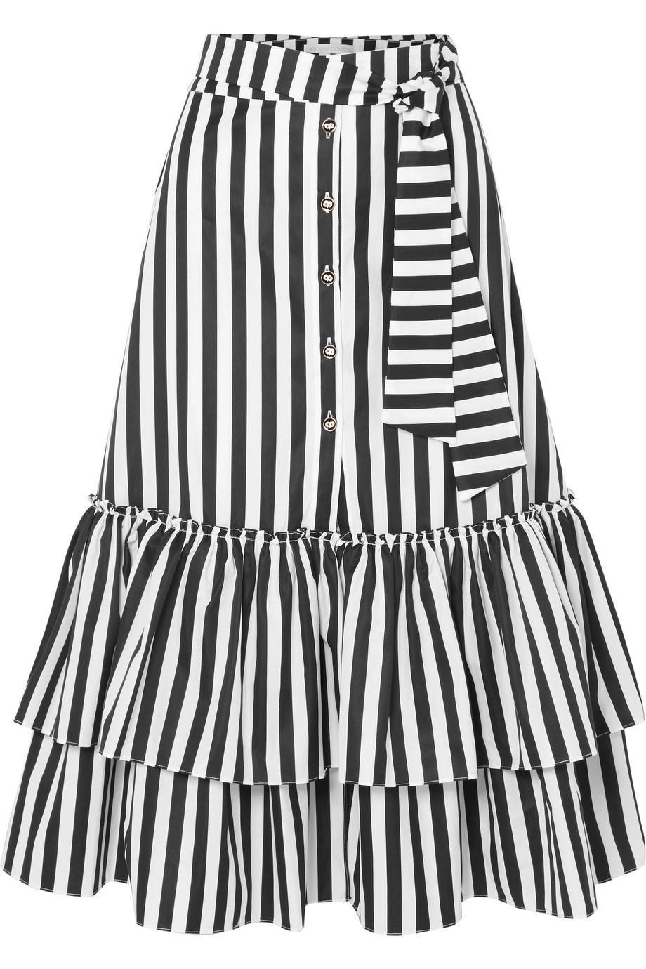 Ruffled Striped Cotton-Poplin Midi Skirt