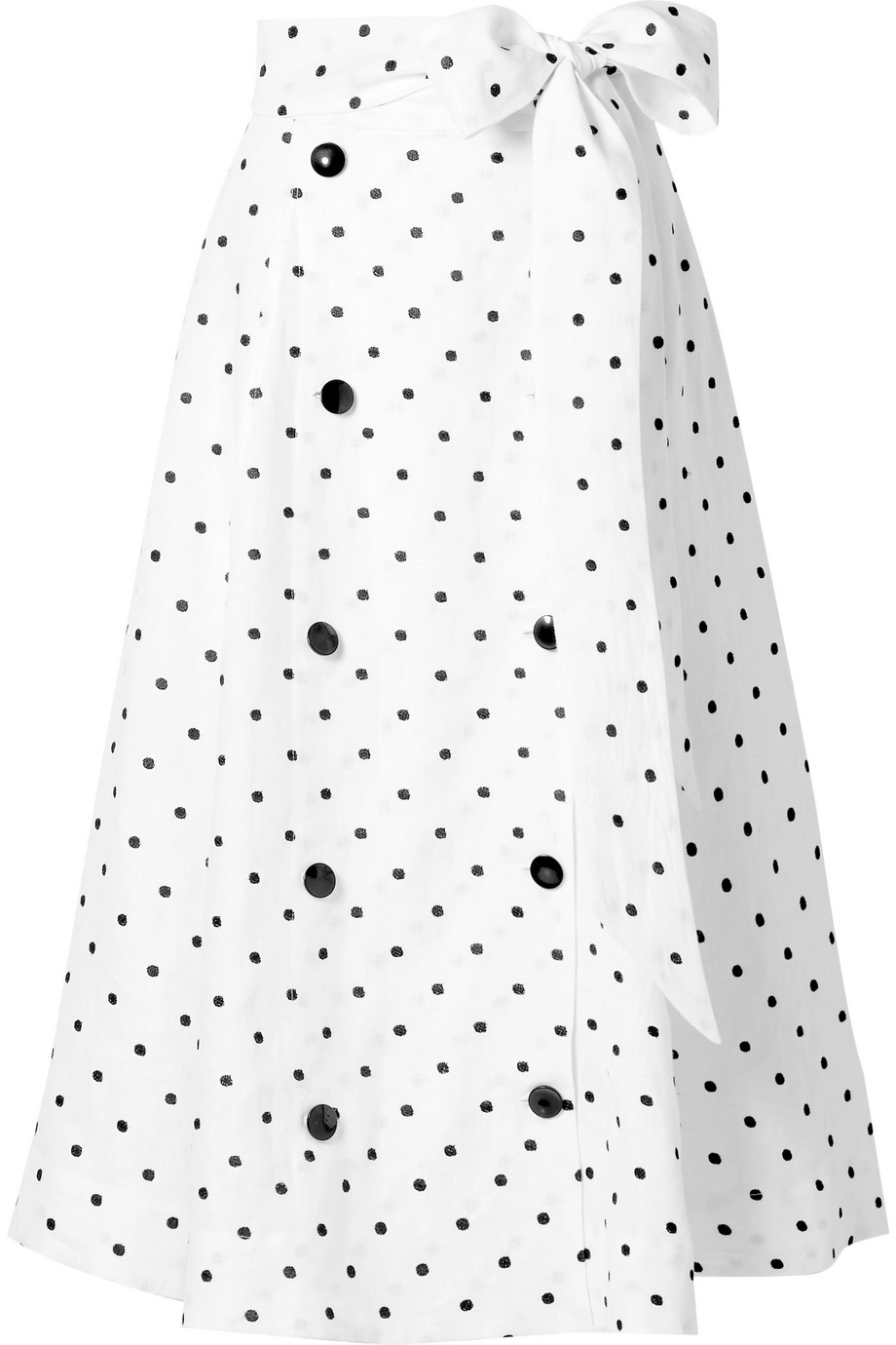 Diana Embroidered Polka-Dot Linen Midi Skirt