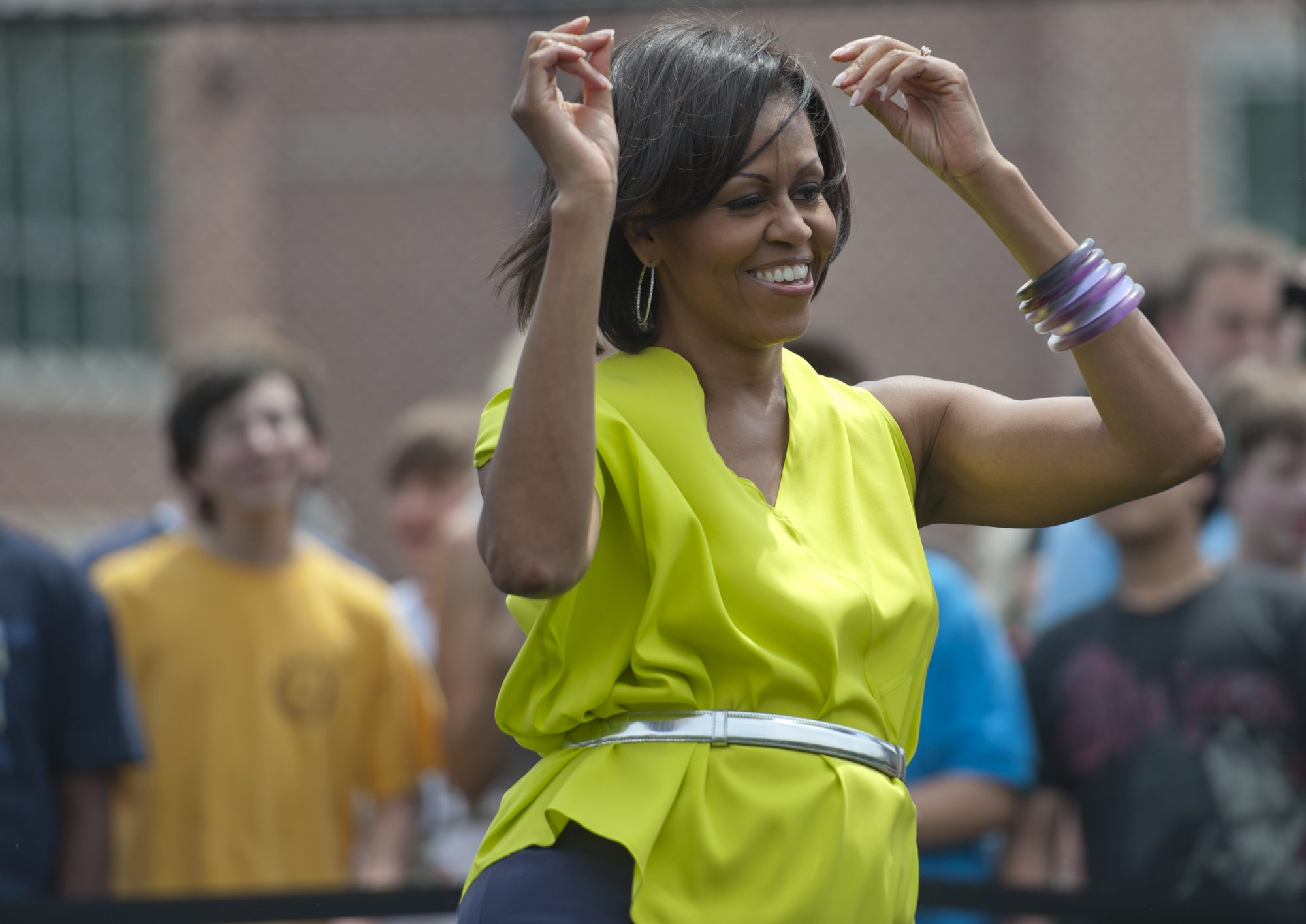 Surprise First Lady Michelle Obama greets the students and teachers of Alice Deal Middle School in Tenleytown, with a suprise visit, where she and the students and teachers participated in the 'Let's Move! Flash Workout.'A pre-choreographed dance routine
