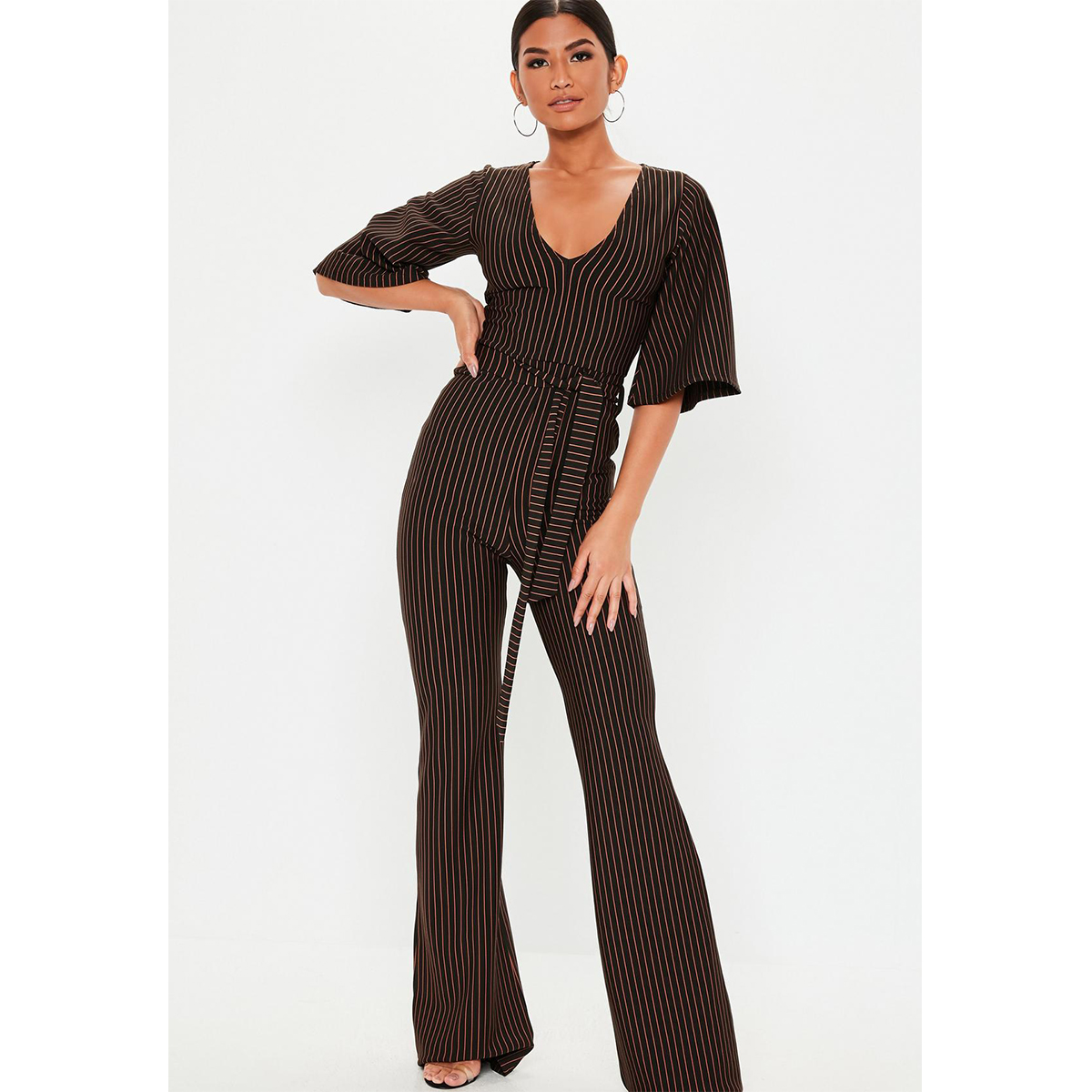 Missguided Tall Black Stripe Kimono Sleeve Jumpsuit