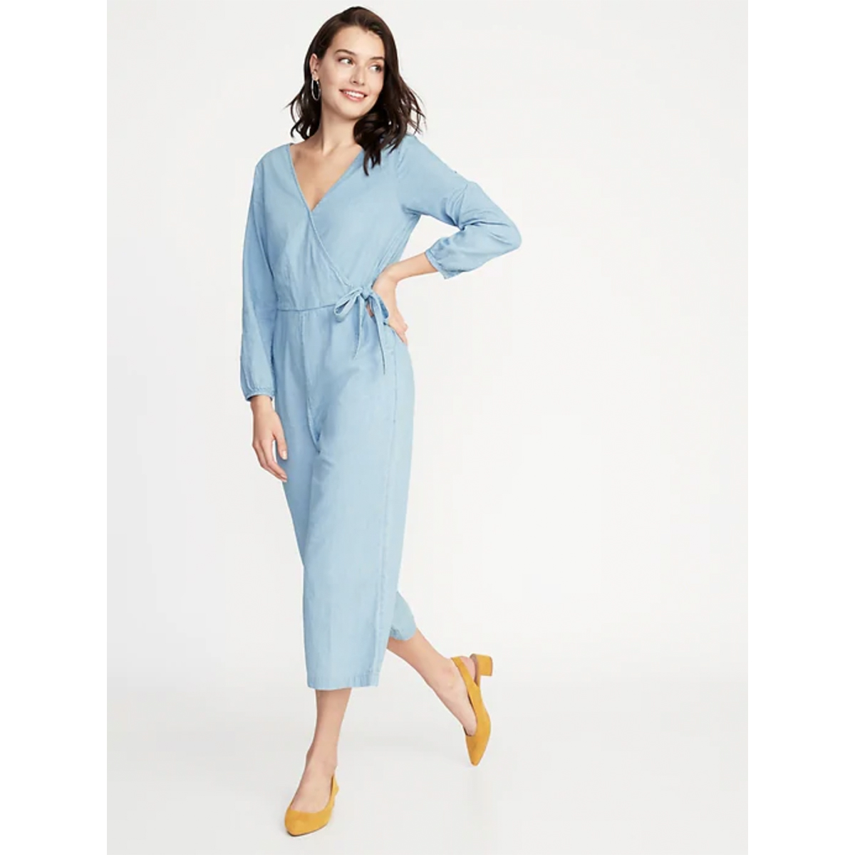Old Navy Waist-Defined Wrap-Front Chambray Jumpsuit for Women
