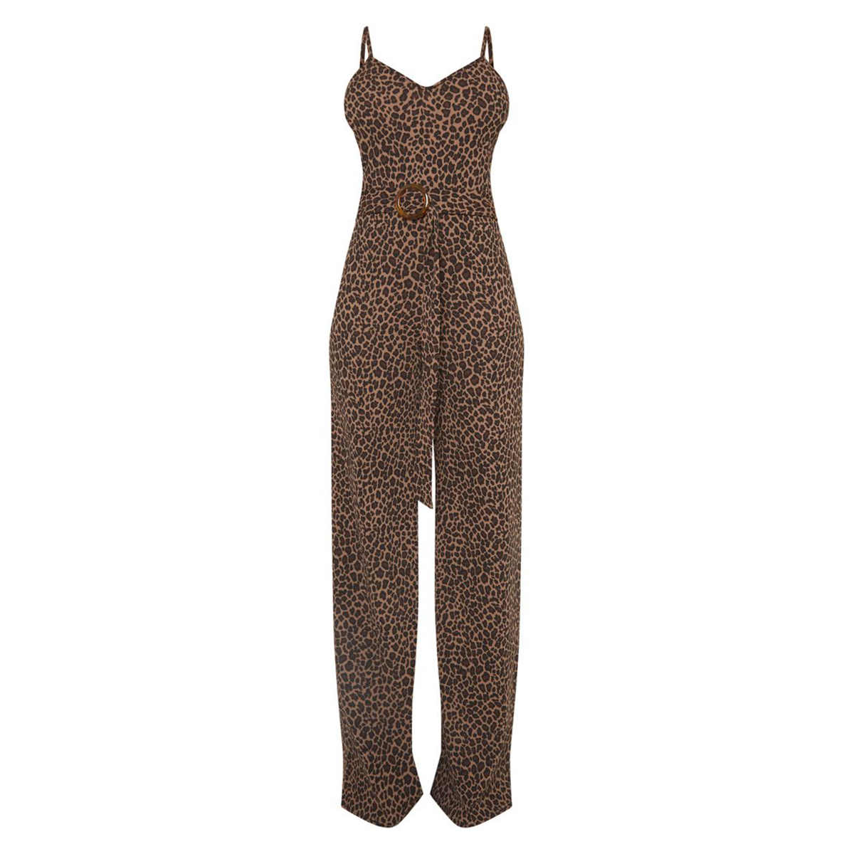 Pretty Little Thing Tall Tan Leopard Print Tortoise Ring Jumpsuit