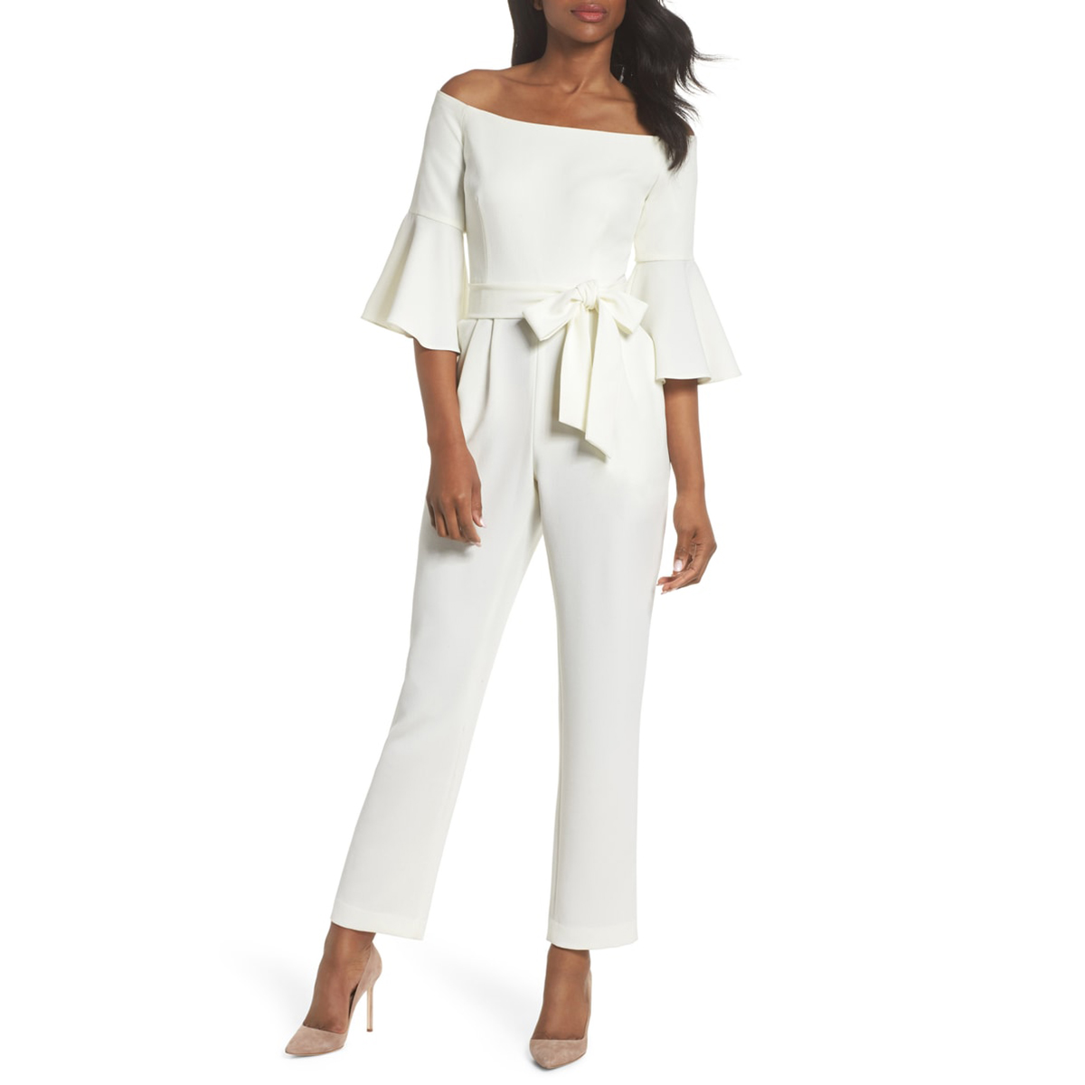Eliza J Off-the-Shoulder Bell Sleeve Jumpsuit