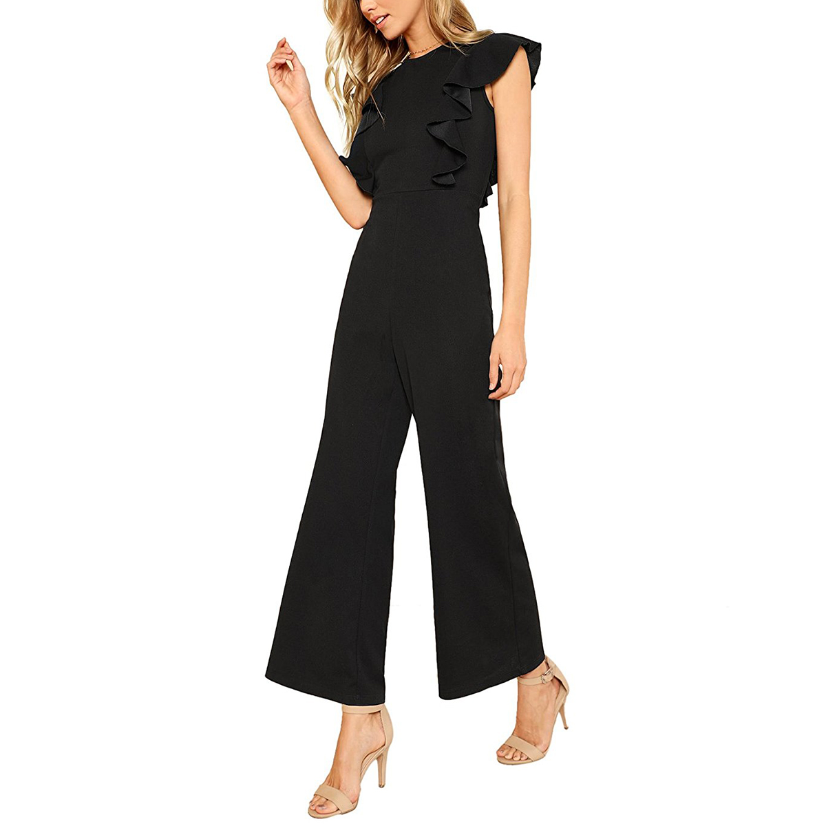 Romwe Ruffle Trim Wide Leg Jumpsuit