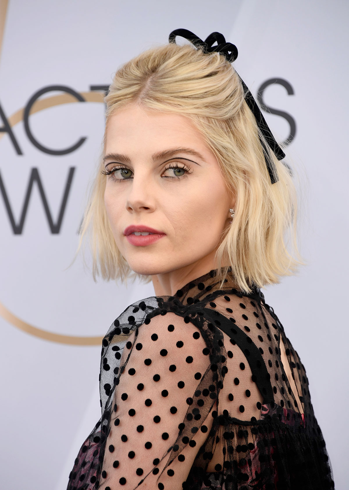 Lucy Boynton's Bob and Velvet Bow