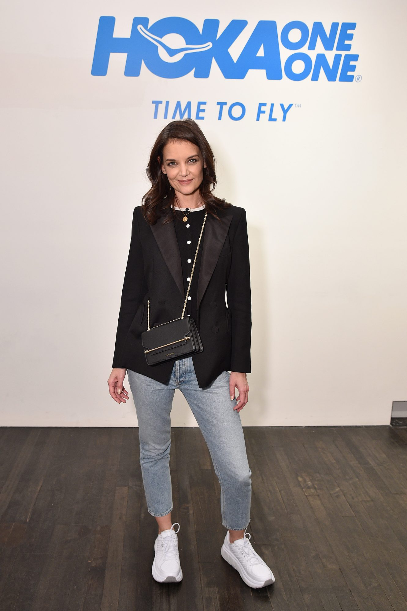 Katie Holmes at the HOKA sneakers pop-up