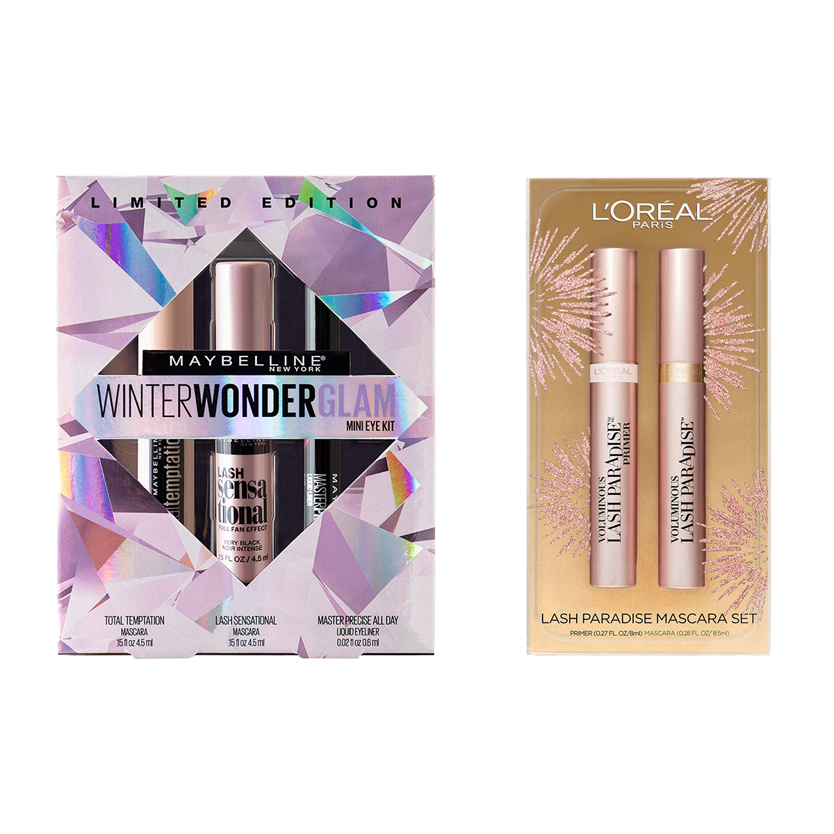 Maybelline Winter Wonderglam Mini Eye Kit / L'Oreal Paris Cosmetics Lash Paradise Lash Primer & Mascara Holiday Kit