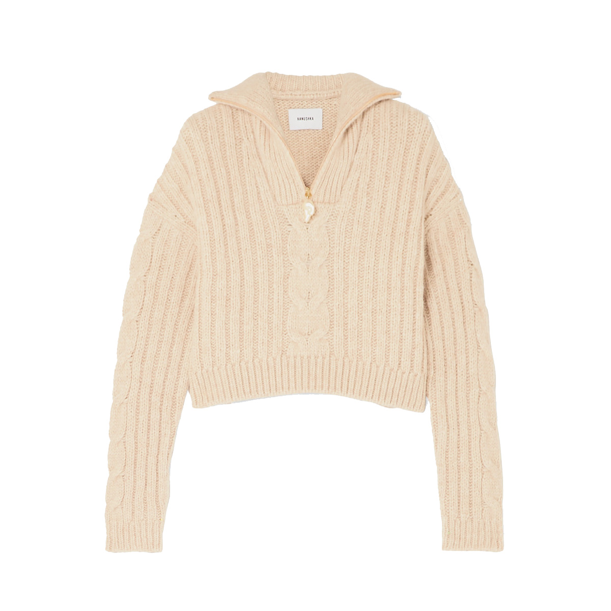 Nanushka Eria Cropped Faux Pearl-Embellished Cable-Knit Sweater