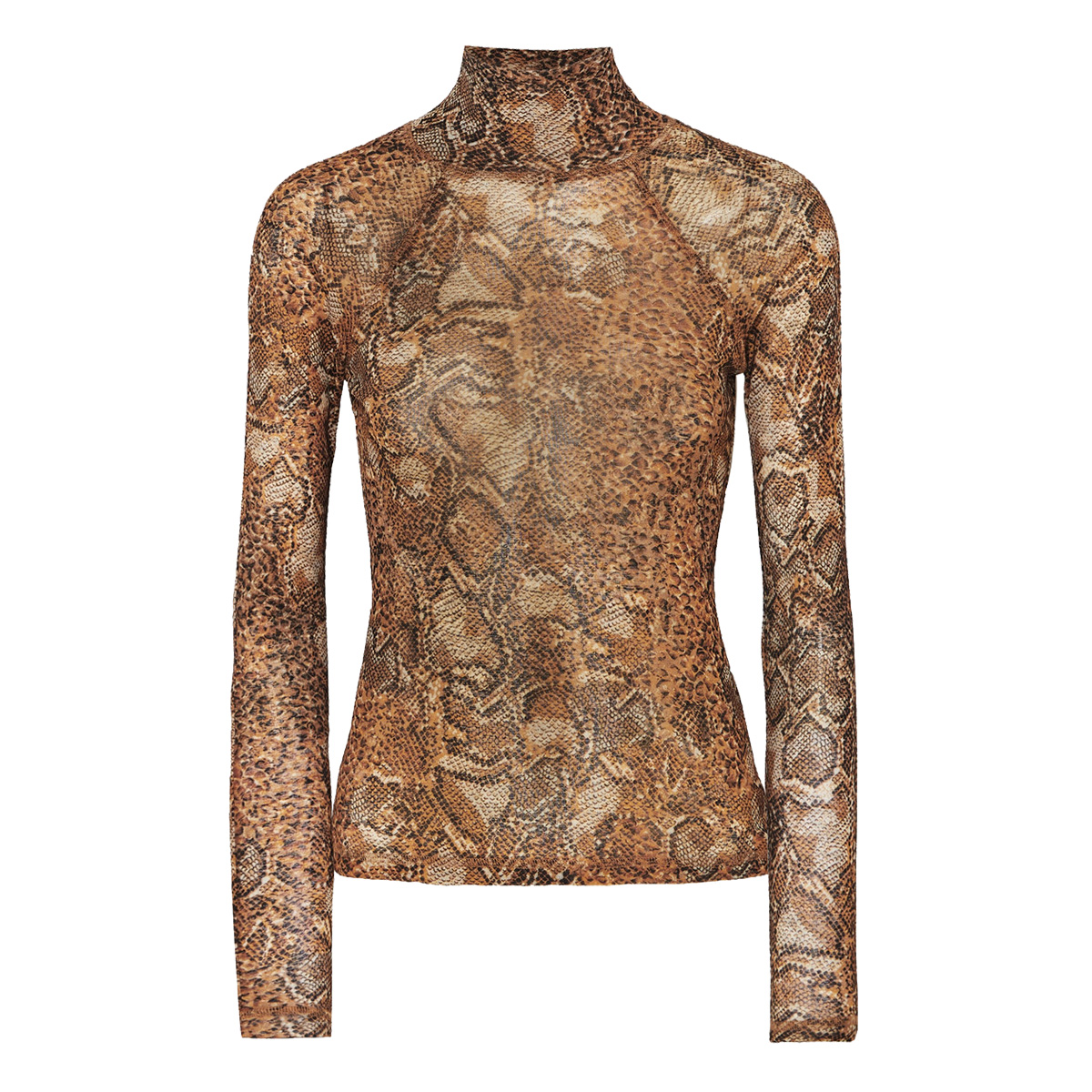 Nanushka Madi Snake-Print Stretch-Jersey Turtleneck Top