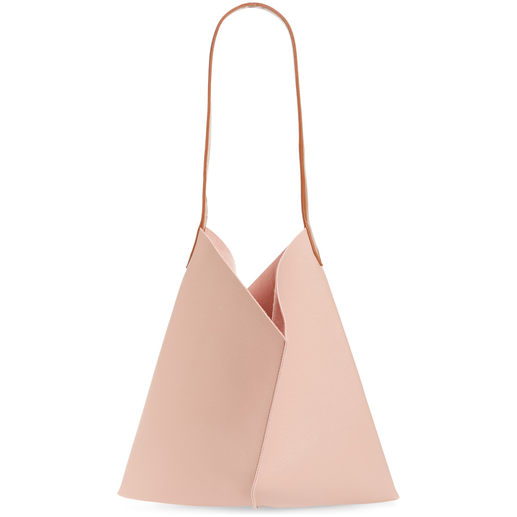BP. Center Seam Faux Leather Tote in Pink Dawn