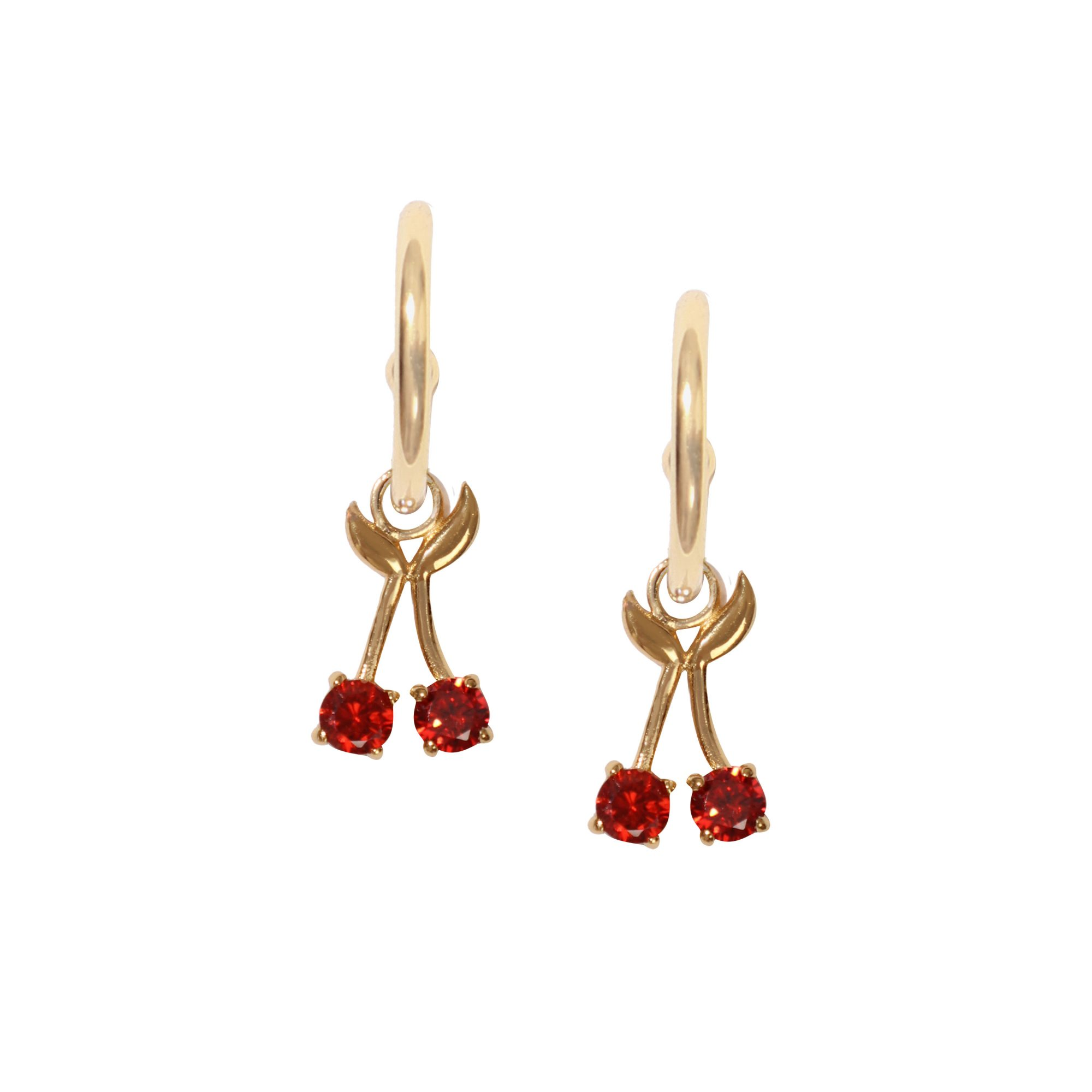 Adornmonde Manny Gold 925 Silver Cherry Earrings